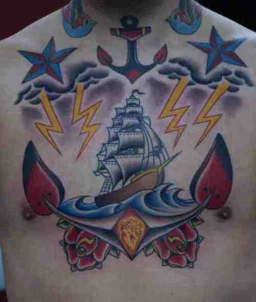 Anchor Tattoos on Chest 2013