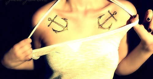 Women Chest Anchor Tattoos
