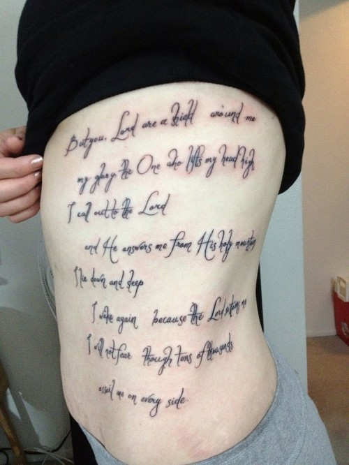 Ribs Script Tattoo for Girls