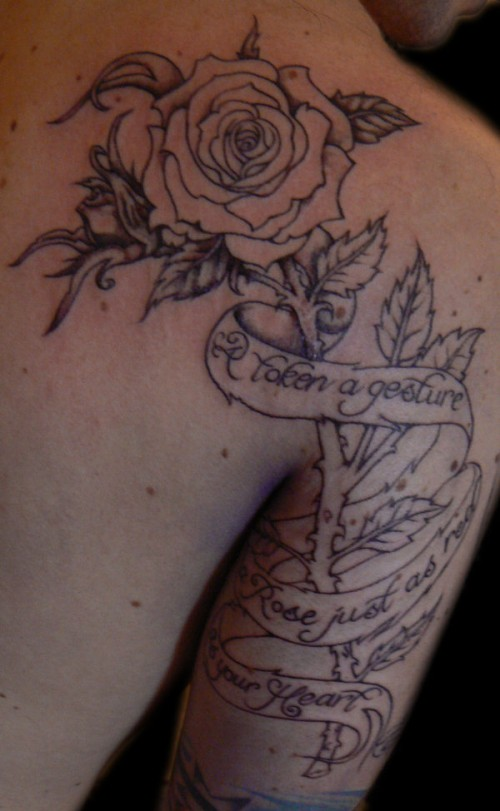 Rose with Script Tattoo