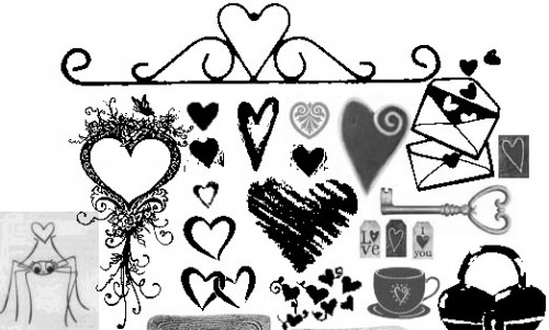 33 Assorted Heart Brushes