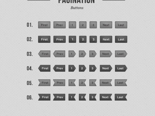 Gray Pagination Buttons Free PSD