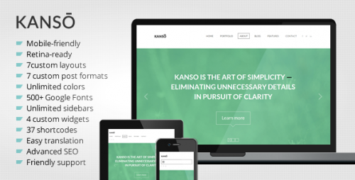 Kanso - Clean One-Page Parallax WP Theme