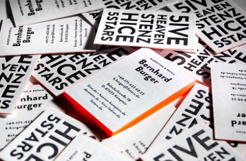Neon Orange Edge Painted Letterpress Business Card