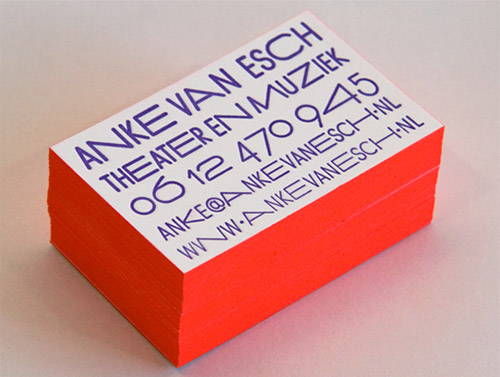 Neon Red Edge Painted Letterpress Business Card