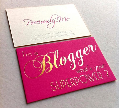Pink And Gold Foil Edge Painted Business Card