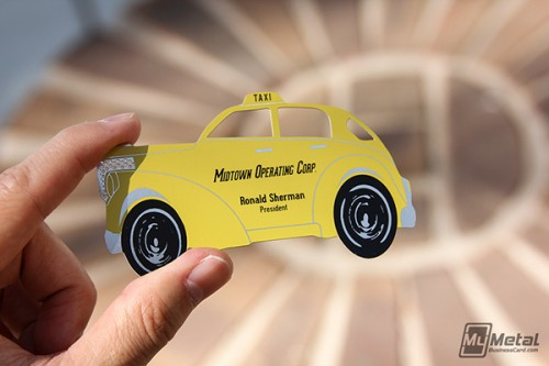 Yellow Taxi Metal Business Card